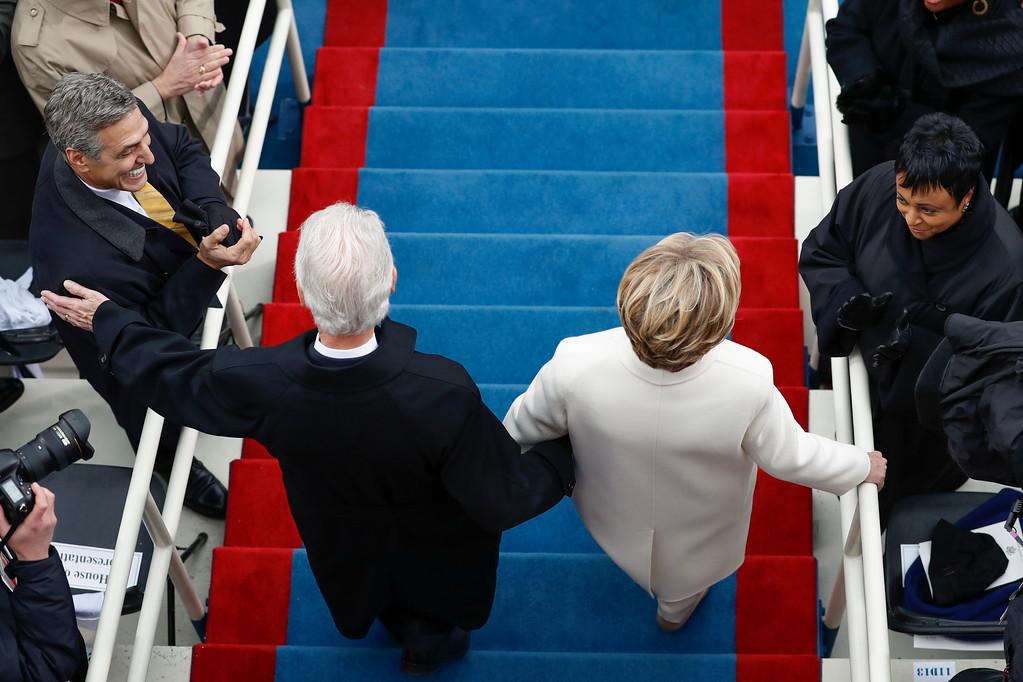 . Former President Bill Clinton and Hillary Clinton arrive during the 58th Presidential Inauguration at the U.S. Capitol in Washington, Friday, Jan. 20, 2017. (AP Photo/Carolyn Kaster)