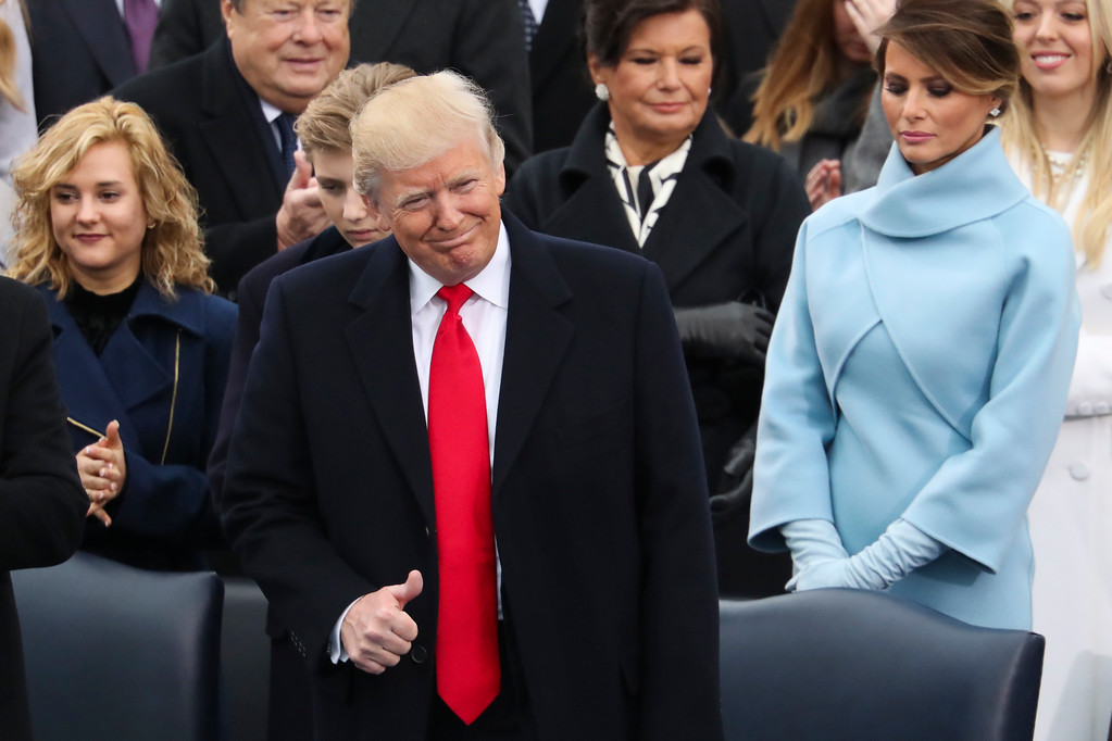 . President-elect Donald Trump flashes a thumbs up during the 58th Presidential Inauguration at the U.S. Capitol in Washington, Friday, Jan. 20, 2017. (AP Photo/Andrew Harnik)