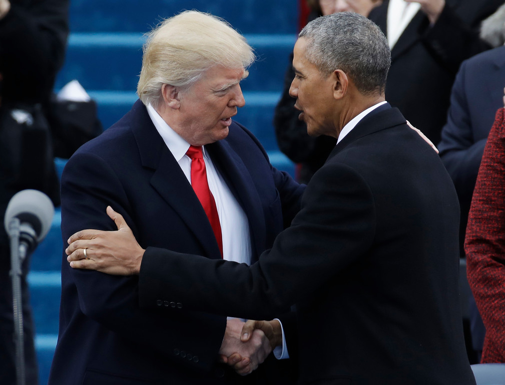 . President-elect Donald Trump, left, shakes hands with President Barack Obama before the 58th Presidential Inauguration at the U.S. Capitol in Washington, Friday, Jan. 20, 2017. (AP Photo/Patrick Semansky)