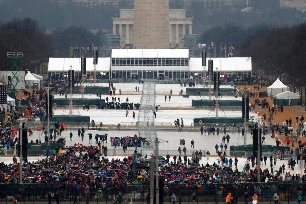 . The crowd starts to fill in along the National Mall before the swearing in of Donald Trump as the 45th president of the Untied States during the 58th Presidential Inauguration at the U.S. Capitol in Washington. Friday, Jan. 20, 2017 (AP Photo/Carolyn Kaster)
