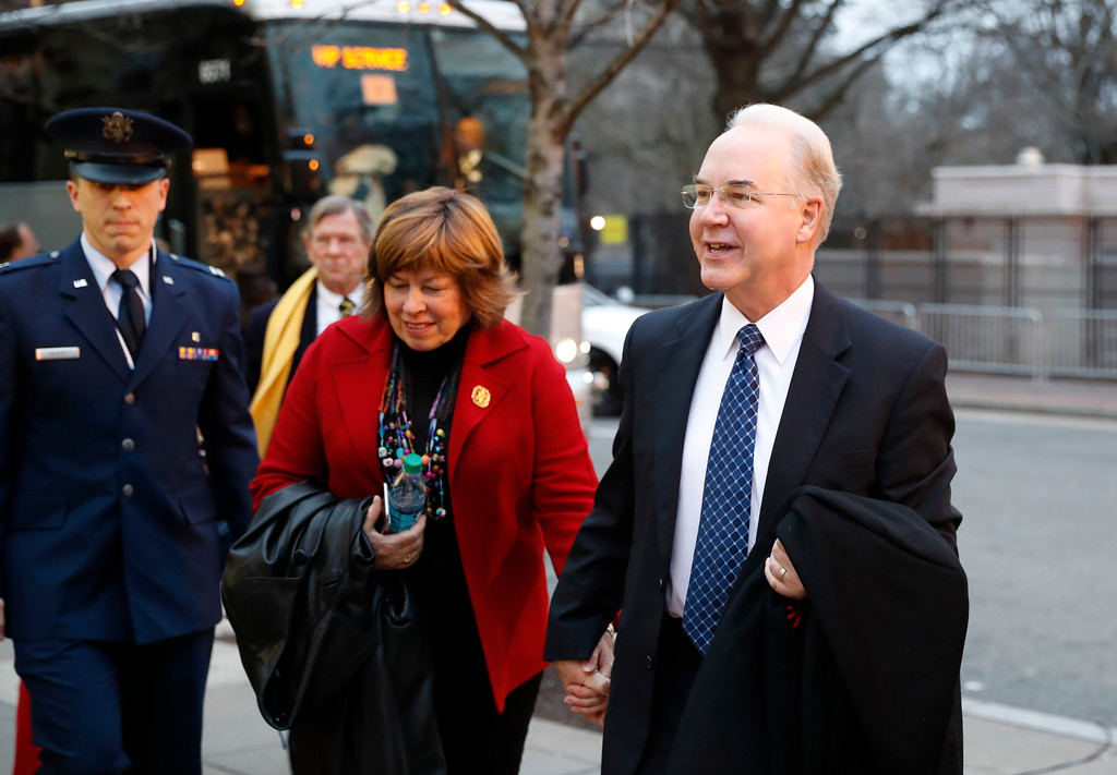 . Health and Human Services Secretary-designate, Rep. Tom Price, R-Ga., and his Elizabeth Clark arrive for a church service at St. John�s Episcopal Church across from the White House in Washington, Friday, Jan. 20, 2017, on Donald Trump\'s inauguration day. (AP Photo/Alex Brandon)