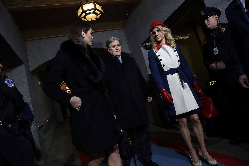 . WASHINGTON, DC - JANUARY 20: (L-R) Dona\'d Trump\'s White House Director of Strategic Communications Hope Hicks, Senior Counselor Steve Bannon and Counselor to the President Kellyanne Conway arrive for the presidential inauguration on the West Front of the U.S. Capitol on January 20, 2017 in Washington, DC. In today\'s inauguration ceremony Donald J. Trump becomes the 45th president of the United States. (Photo by Win McNamee/Getty Images)