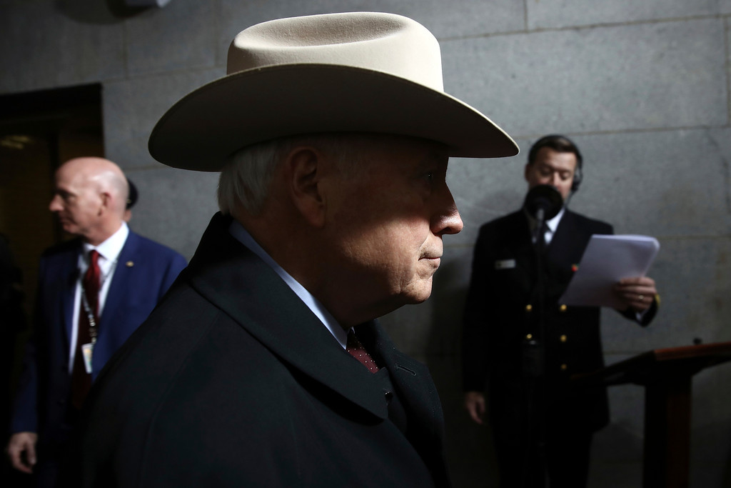 . Former Vice President Dick Cheney arrives on the West Front of the U.S. Capitol on Friday, Jan. 20, 2017, in Washington, for the inauguration ceremony of Donald J. Trump as the 45th president of the United States. (Win McNamee/Pool Photo via AP)