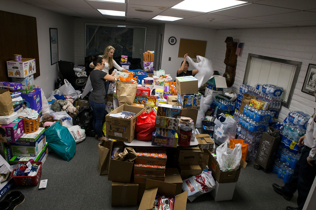 . In just a few hours, the conference room at the Humboldt Bay Fire was filled with donations including everything from snacks to toothbrushes.  (Sam Armanino - The Times-Standard)