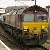 66111 heads a trainload of Peugeot vans on 6E33 Warrington Arpley - Doncaster Europort