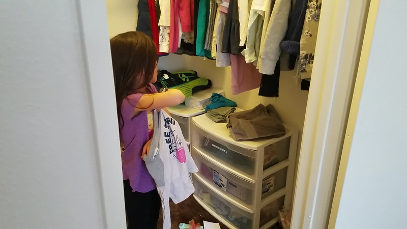 Sophie picked the smaller bedroom with the biggest closet.  Ha! So Sophie.
