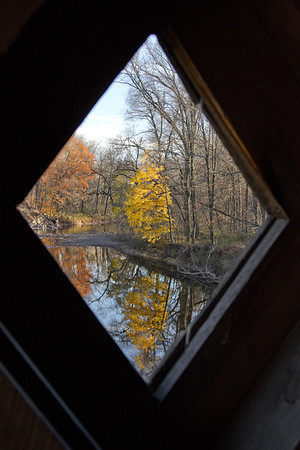 Schofield Covered Bridge Window in Fall, Newtown, PA