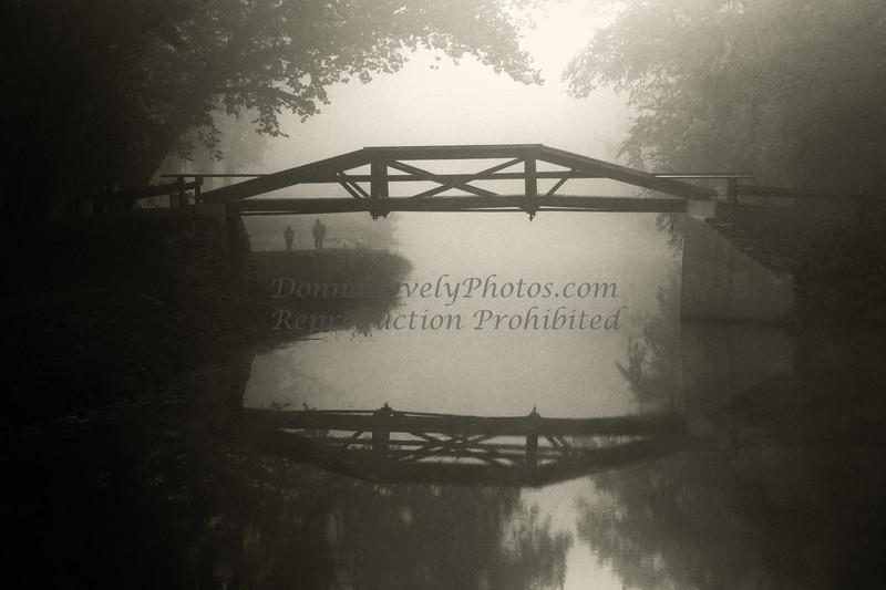 """Foggy Washington Crossing Pedestrian Bridge, New Hope, PA in<br />  2012 Phillips' Mill Photographic Exhibition<br /> """"Photo Review Magazine"""" special web gallery competition 2011 &<br /> New Hope Art League 2010 Juried Show"""