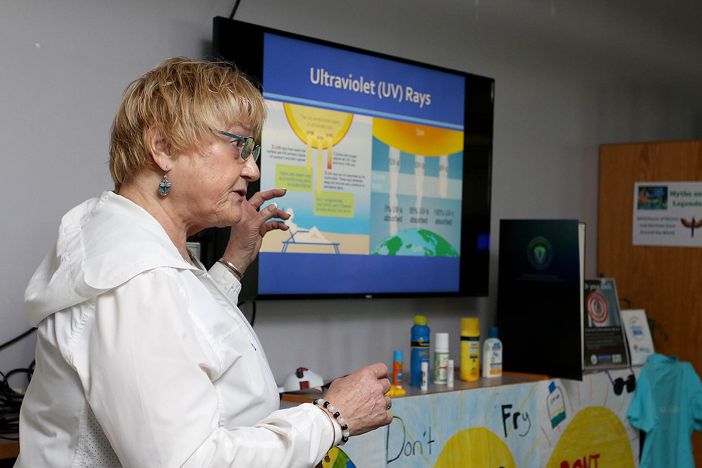 ". Sixth graders at Stony Brook School listened to Maura Flynn from the Children\'s Melanoma Prevention Foundation for ""Don\'t Fry Day,\"" an educational event aimed at preventing skin cancer with young students. Here she talks about ultraviolet (UV) rays and how they are harmful. SUN/JOHN LOVE"