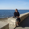 On the sea wall in Porec.