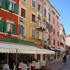 A street in Rovinj, with the typical restaurant spilling out onto the street.