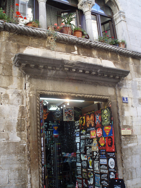 A shop in Porec - an example of the unfortunately Croatian tendency to turn a classic medieval building into a tacky souvenir shop.