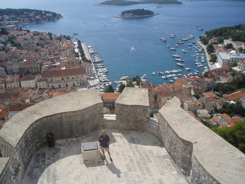 The harbor of Hvar town, from the castle.  Hvar is a popular destination for private sailboats.