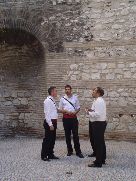 An a cappalla group singing (and selling CDs) in one of the Roman rotundas - the acoustics were great