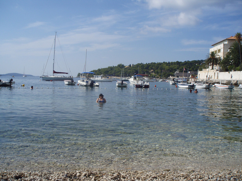 Beyond Hvar town is a little beach.  The Adriatic was still warm enough in late September to go swimming.