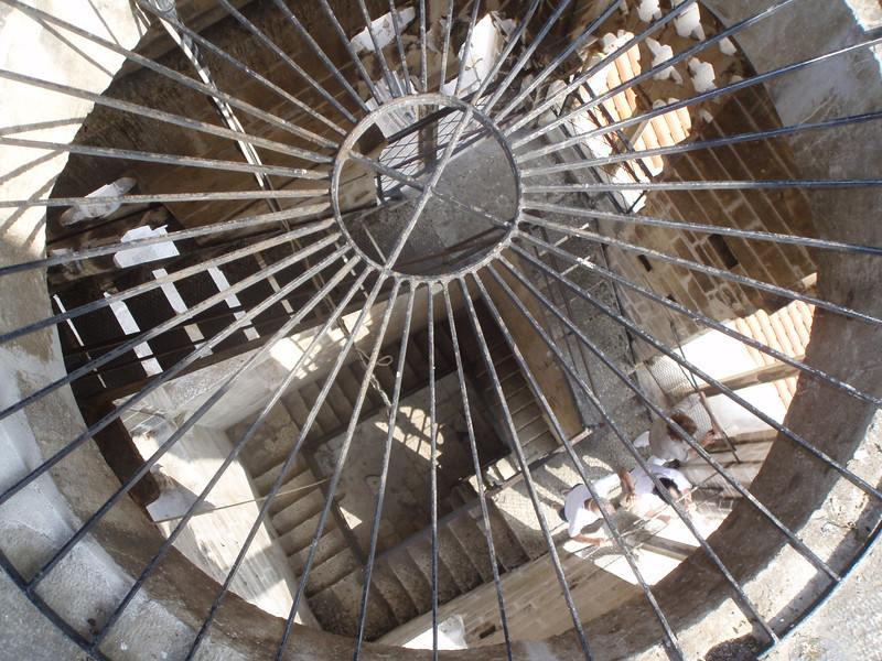 Looking down the steps of the Trogir belltower - I was there right at noon, and got to experience the ringing from close
