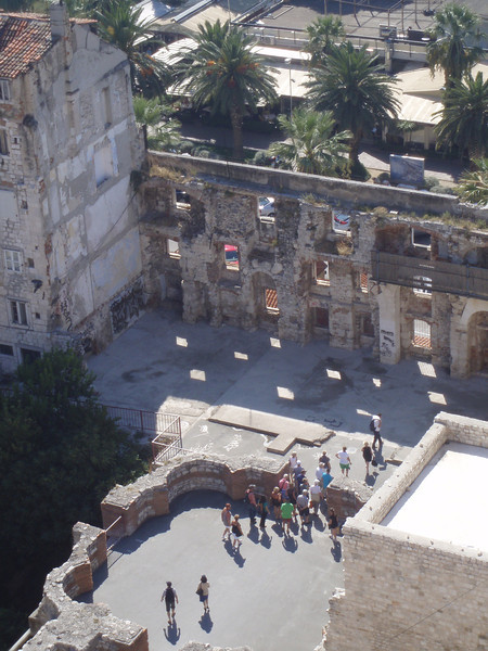 A view from the belltower of a medieval church at the Diocletian walls