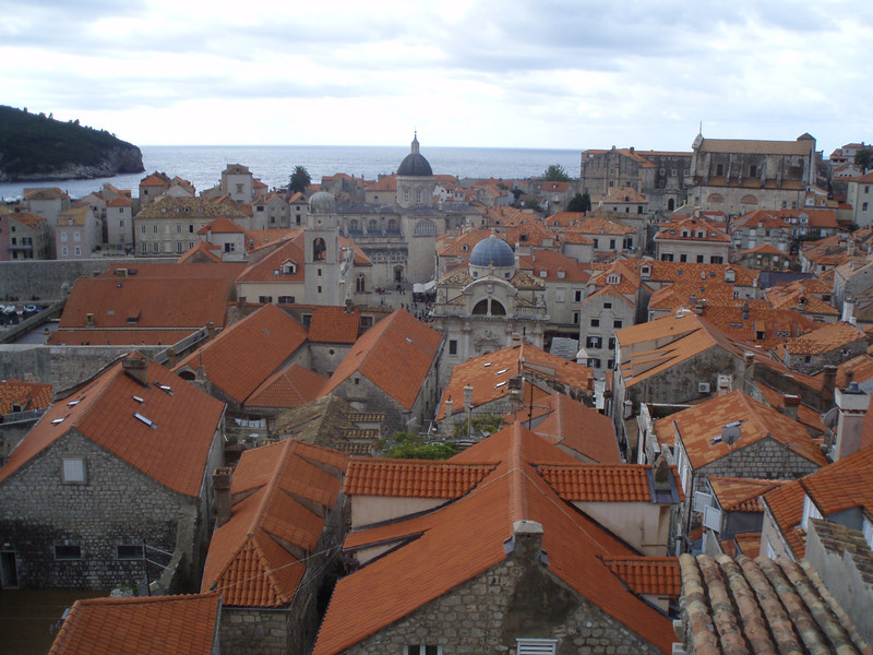 A view of Dubrovnik from the city walls, with the Adriatic in the background.