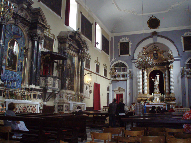 Inside one of the churches in Dubrovnik