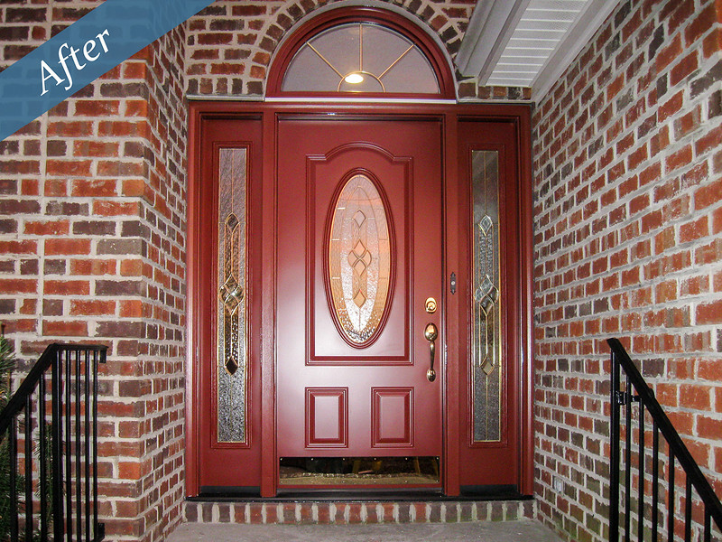 Doors by the AluminumCompany.com with sidelites and half round transom.