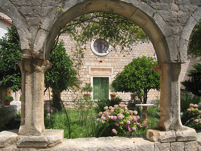 Green Door & Archway in Monastery, Island of Hvar, Croatia