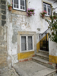 Windows, gate & potted flowers, Obidos, Portugal