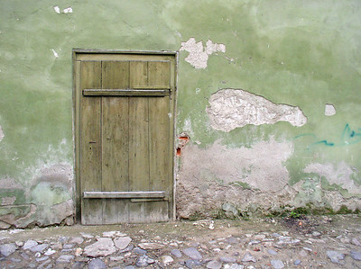 Wooden Door & Green Wall, Romania