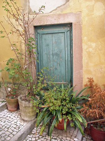 Turquoise door & potted plants, Evora, Portugal