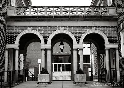 Bishop Hall through Arches
