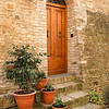 Italian door & steps with flowerpots