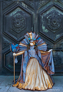 Majestic Door Draped by Mardi Gras Lady