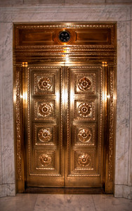 copper-elevator-door