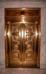 copper-elevator-door