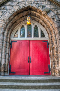 red-church-doors