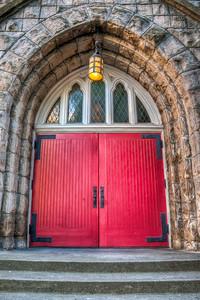 red-church-doors