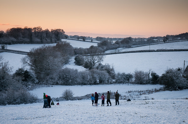 Snowball fight in Dorset