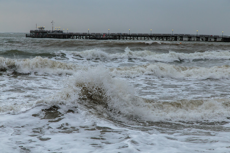 Swanage Pier in storm