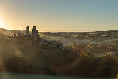 sunrise, Corfe Castle
