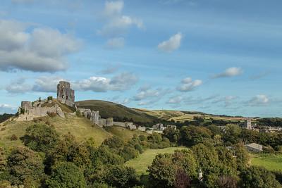 Corfe Castle amidst splendid Dorset scenery