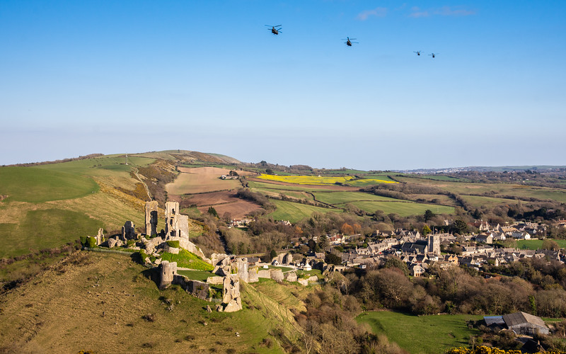 Helicopters over Corfe Castle