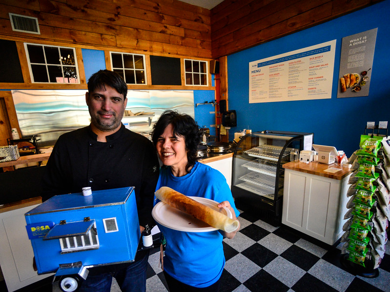 KRISTOPHER RADDER — BRATTLEBORO REFORMER<br /> Leda Scheintaub and Nash Patel inside their new location at 32 Elliot St., in Brattleboro, on Thursday, Jan. 30, 2020. Dosa Kitchen, which features South Indian soul food, will have its grand opening on Saturday, Feb. 1, 2020.