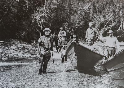 Excursion dans le haut de la Jupiter, 1905. Georges Farar Gibson à gauche et Martin Zédé à l'extrème droite.