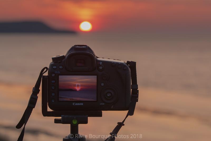 Double exposition-écran-coucher de soleil.