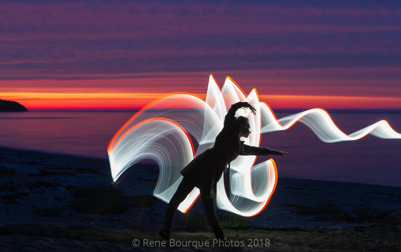 Light painting au crépuscule, safari photo