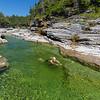 Swimming in Chicotte river, anticosti island