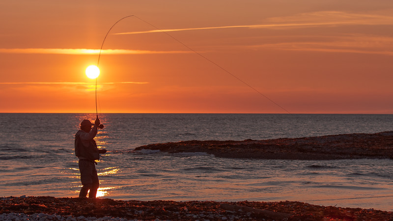 Fly fishing, sunset, mouth Jupiter river, anticosti