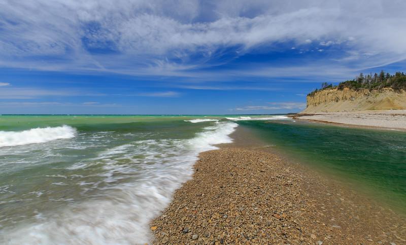 Mouth of Jupiter River, anticosti island. green water