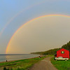 Spectacular rainbow, photo safari, bay of Patate, anticosti, red cabin.