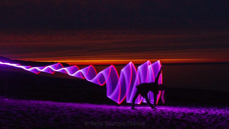 Light painting at dawn, Anticosti photo safari