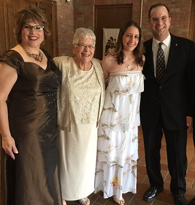 Fran, Dottie, Erica and AJ in the lobby of St. Ambrose before the wedding - 7/7/17